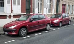 Citroen C3 et Peugeot 206 rouges (gueguette80 ... Définitivement non voyant) Tags: red cars rouge 206 autos amiens peugeot c3 paire 2015 roen