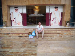 The guys behind me are the rulers of Qatar, the Emir and his son.