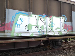 830 (en-ri) Tags: verde train writing out torino graffiti merci rosa crew azzurro bianco treno freight coer chivasso