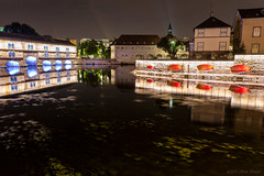 Dreams never die (OR_U) Tags: 2016 oru france strasbourg night nightphotography red blue adamyoung reflections light bridge lapetitefrance lights colours river water mirror le longexposure city