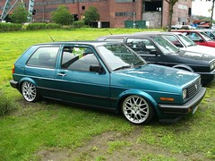 VW Golf 2 (911gt2rs) Tags: treffen meeting show event tuning tief low stance mk2 westmoreland youngtimer rabbit grn green dub