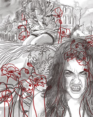 am not a war 2 (milazayakina) Tags: illustration graphics draw drawing war woman unwomanly tiger hate