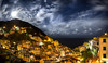 Riomaggiore Moonrise (JoshyWindsor) Tags: night landscape canonef1740mmf4l moonrise italy riomaggiore canoneos6d longexposure holiday clouds lights travel cinqueterre panorama europe cityscape moon