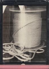 Sash Cord (DavidVonk) Tags: vintage instant film analog polaroid impossibleproject 8x10 bw expired sash cord rope twine spool texture pattern weave pq