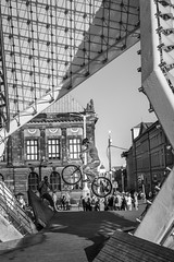 Flying High (M.D.Lord) Tags: 2016 poland outdoor outdoors bw black white bike man people blackandwhite blackwhite monochrome path wood building buildings fountain poznan square social architecture photography action motion air intheair structure david davidlord motioninstills actioninstills