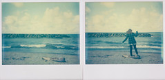 then and now (Lisa Toboz) Tags: impossibleproject instantfilm polaroid lakeerie pennsylvania polaroidweek2016 selfportrait diptych spectrasystem