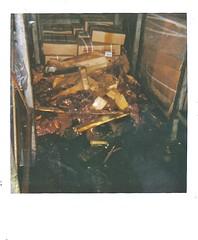 Bad Situation at the Packing House (ricko) Tags: tractortrailer meat livers brokenboxes pallet polaroid armourswifteckrich film scan boxes kansascity