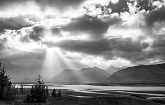Shine a light (benoitgx) Tags: iceland islande sunporn rays sky skyporn landscape light blackandwhite bw island