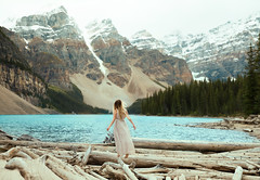 Moraine (Lichon photography) Tags: lichonphotography mountain moraine lake lakemoraine rockymountain adventure travel dress hair me selfportrait selfie surrealism surreal landscape nature log sprite sky sadness quality unqiue women woman witch elven empower emotional enchanted back foot feet girl female blond long longhair canadian caanda canada conceptual lady