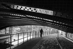 Day #3238 (cazphoto.co.uk) Tags: panasonic lumix dmcgh3 panasonic1235mmf28lumixgxvarioasphpowerois project366 beyond2922 111116 mono monochrome littlevenice london bridge canal regentscanal people silhouette canalboat metal rivets