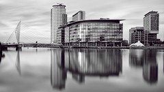 Salford nights revisited (neals pics) Tags: my100xbw bw blackwhite monochrome blackandwhite mono manchester reflections lights england night longexposure urban architecture buildings salfordquays river mediacityuk 100xthe2016edition 100x2016 image85100