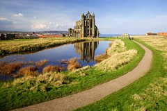 whitby abbey from a wall (khrawlings) Tags: whitby abbey pond reflection curved path ruin church coast winter water yorkshire england monastery englishheritage green blue