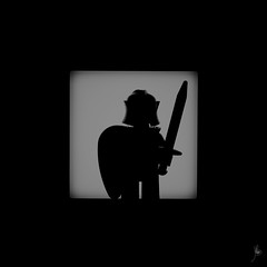 Shadow (272/100) - Knight (Ballou34) Tags: 2015 650d afol ballou34 canon eos eos650d flickr lego legographer legography minifigures photography rebelt4i stuckinplastic t4i toy toyphotography toys rebel stuck plastic blackwhite light shadow photgraphy 2016 enevucube minifigure 100shadows warrior shield knight sword helmet
