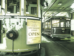 New Regent Street Open (Steve Taylor (Photography)) Tags: newregentstreet open iconic heritage tram 152 15 citytour garage terminal art digital window railing sign green monocolor monocolour newzealand nz southisland canterbury christchurch cbd city perspective shiny workshop