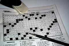 Incomplete (Alfredo Liverani) Tags: lasettimanaenigmistica settimana enigmistica odcdailychallenge incomplete canong5x canon g5x monocromo monocrome blackandwhite crossword pencil eraser