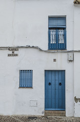 Azul y blanco (pelpis) Tags: blue white colours town places carmona sevilla spain andalusia details abstract door window scenary minimalist mind pf photo flickr