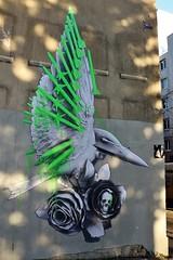 Ludo_4040 rue Piat Paris 20 (meuh1246) Tags: streetart paris paris20 belleville ludo ruepiat animaux oiseau crne fleur