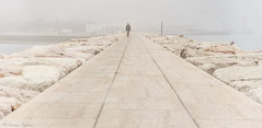 Walk in White (Franco Beccari) Tags: fog white man coast blackandwhite nikon vacation color colour holiday trip travel tourism black world europe nature photography nikkor d600 nikond600 mist veneto italy