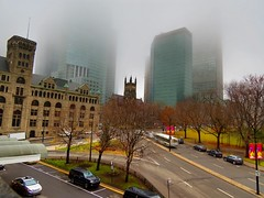 Foggy afternoon in downtown Montreal (MTL Urban Photography by @mjmantis) Tags: streetphotographymontrealurbanshotsurbancityscape fog streetphoto travelpics cityskyline urbanshots quebec mtl skyscrapers