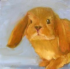 Patch - SOLD (dewartist) Tags: rabbit bunny art animal painting miniature daily oil prima alla dailypainting dailypainter carolmarineworkshop carolmarine