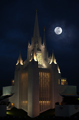 San Diego's Mormon Temple (john_h_moore) Tags: california moon church night clouds temple sandiego lajolla spire moonrise mormon moroni