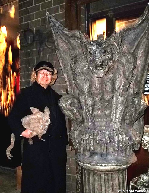 Seara (sea rabbit), Dr. Takeshi Yamada and Gargoyle in Manhattan, New York on December 23, 2011.  20111223 044.  Gothic Renaissance boutique.