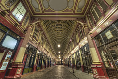 Leadenhall Market (odin's_raven) Tags: road city longexposure nightphotography england urban london art english monument architecture night photoshop photography photo high alley nikon dragon leadenhallmarket nightshot dynamic market britain perspective victorian corridor harry potter harrypotter photograph british nikkor range hdr highdynamicrange cityoflondon leadenhall dragonalley photorealism postprocessing bishopgate photomatix 1424 odins d700 1424mm odinsraven