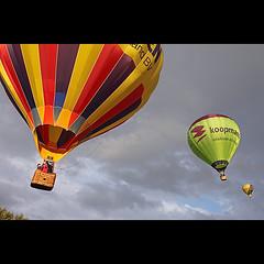 Ballooning (KoenK68) Tags: summer sky sun hot colors clouds balloons fun three afternoon bright wind aviation air floating hotairballoon float aeronautics koopmans koenk68