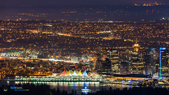 Into the City (Matzuda) Tags: longexposure nightphotography vancouver cypress nikkor canadaplace f28 coalharbor 400mm shawtower harborcenter vancouverconventioncenter thevancouversun nikon400mm nikond800
