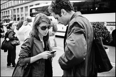 will you call me? (paga4flickr) Tags: street nyc people bw film noiretblanc candid strangers nb mp 40 neopan400 summicronc inconnus anonymes superprodol