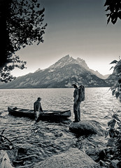 Heading out on to Jenny Lake, Grand Tetons WY (arbabi) Tags: friends usa nationalpark dusk canoe adventure recreation wyoming canoeing tetonrange grandtetonnationalpark jennylake seanarbabi