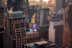 The Glow of Times Square (Peter Alfred Hess) Tags: new york city light sunset building night evening cityscape manhattan