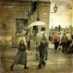 Lady in a hat (Kerstin Frank art) Tags: city people texture hat rain lady umbrella bag skeletalmess kerstinfrankart kerstinfranktexture lenabemanna