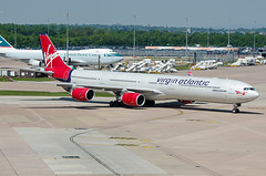Airbus A340, G-VBLU, Virgin Atlantic Airways. (PRA Images) Tags: man airbus a340 manchesterairport egcc virginatlanticairways gvblu
