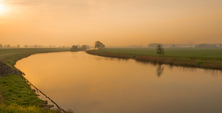 Dutch polder landscape early in the morning
