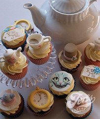 Mad hatter's tea party (Jen's Cakery) Tags: party cup cupcakes tea alice painted watch teapot wonderland madhatter saucer teaparty cheshirecat jenscakery