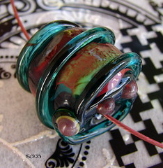 Isolda (Laura Blanck Openstudio) Tags: show blue usa green art glass lines coral festival dark spiral one necklace beads big shiny colorful published artist bright handmade teal steel stripes dramatic wrapped funky jewelry bumpy holes kind made odd single round winner copper huge transparent dots kiln murano rare lampwork multicolor artisan pendant stainless torched bold whimsical raised petroleum openstudio asymmetric focal annealed openstudiobeads