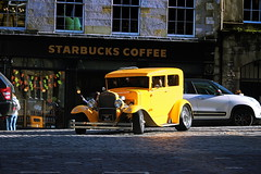 Coffee Surprise (leewoods106) Tags: road street trip travel red vacation white holiday reflection coffee beautiful yellow canon vintage photography lights scotland photo vintagecar holidays edinburgh photographer photos wheels royal coffeeshop oldbuildings starbucks journey surprise royalmile vehicle lamps traveling cobbles oldtown alloys oldcity tyres tyre beautifulmoments traveler zoomlens strolling alloywheels beautifulcars canoneosm efs55250mmstm canonefs55250mmstm