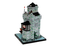 Leanorll Manor (soccersnyderi) Tags: lego moc castle medieval creation manor house fortress stone wall design technique tudor wood roof water rock furniture interior hinging opening liftoff