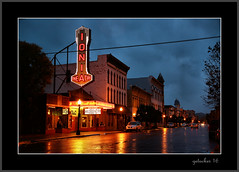 Ionia Movie House Rainy Night (the Gallopping Geezer 3.8 million + views....) Tags: theater movie cinema entertainment marque sign signage bulb neon smalltown backroads ionia mi michigan evening night rain reflection reflections light lights street business town building buildings structure canon 5d3 24105 sigma geezer 2016