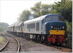 D182 (46045) leads 45041 'ROYAL TANK REGIMENT' on 2E50, Longueville Junction, October 15th 2016 c (Bristol RE) Tags: d182 182 46045 46 class46 nvr nenevalleyrailway longuevillejunction peak 45041 d53 53 45 class45 royaltankregiment