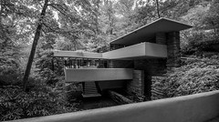 Hard Lines Against Nature (trainmann1) Tags: nikon d90 tokina 1116mm amateur handheld fallingwater franklloydwright fallingwaterhouse house retreat nature architecture design october 2016 stunning beautiful gappa pa pennsylvania westernpennsylvaniaconservancy 1939 fall autumn blackwhite bw desautrated contrast millrun millrunpa