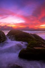 Inflamed (YOSHIKA      4) Tags: flames sky sea seascape rocks moss ambalangoda srilanka waves ocean evening sunset sun clouds warm colourful beautiful water rocky lovely lanka colours