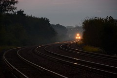 fog lights (Theresa*) Tags: winfield illinois chicagometrapassengertrain curve tracks lights headlights train cloudy westchicagowatertower nikond7100