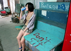 Don't Sit (cowyeow) Tags: juxtaposition irony ironic sit sitting chair bench wood blue funnychina chinese china funny funnysign asia asian hongkong sign funnyhongkong lammaisland candid drink drinking legs sexy 香港 girl woman hot hottie hotty pretty cute babe attractive asiangirl patagonia
