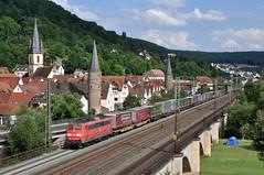 DBC 151 125 met trailertrein, Gemnden am Main, 30-07-2016 (Michael Postma) Tags: db cargo 151 125 gemnden am main maintal