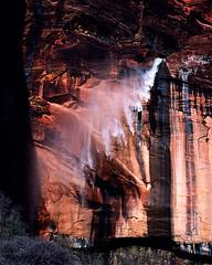Zion NP windblown waterfall 1985 (hz536n/George Thomas) Tags: 1985 canon ae1 film 35mm kodachrome utah zion waterfall windblown spring copyright nik cs5