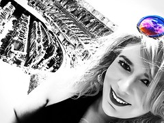 Happy girl dreaming in colors at Rome. Self portrait. (paolahiguera) Tags: roma rome italy italia colosseum coliseo bn bw splash selfie selfportrait people sunglasses splashofcolor travel portrait dreams
