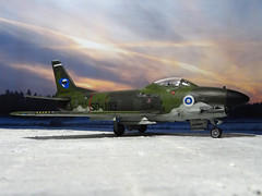 "1:72 North American (Fiat) F-86K ""Sabre"", 'SD-103' of the 2nd Flight/HvLLv 31 (Fighter Squadron 31/Hvittjlentolaivue 31), Suomen Ilmavoimat (Finnish Air Force), Karelian Air Command; Kuopio-Rissala, 1968 (Whif/modified Airfix kit) (dizzyfugu) Tags: 172 north american sabre dog f86 f86d f86k conversion whif whatif modellbau model kit vintage airfix hornby plastic finland finnish air force soumi soumen ilmavoimat kuopio rissala cold war olive green vihre mustavihre vaaleanharmaa k16 aim9 sidewinder interceptor"