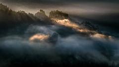 The Light Fantastic (Bernd Thaller) Tags: rathen sachsen deutschland de landscape sunrise fog sunrays romantic dark sunspots clouds woods